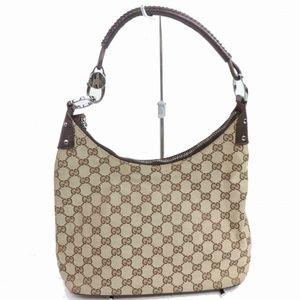 Auth Gucci Canvas Shoulder Bag Brown #990G11
